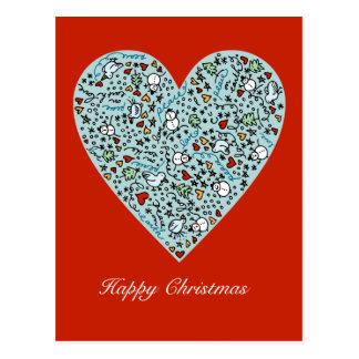 Postal linda del corazón del amor del navidad