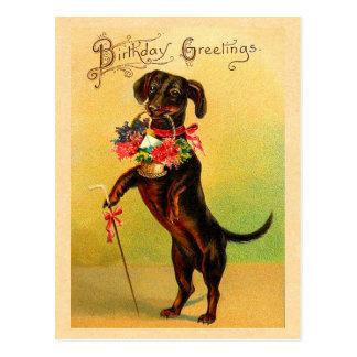 Postal linda del cumpleaños del Dachshund