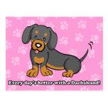 Postal linda del Dachshund del perro del dibujo an