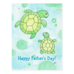 Postal linda del día de padre de las tortugas de m