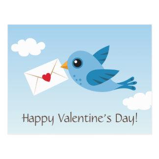 Postal linda del día de San Valentín con el pájaro