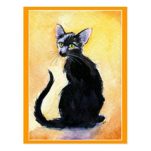 Postal linda del gato negro o del gatito