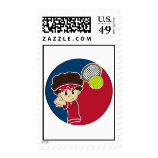 Postal linda del muchacho del tenis franqueo