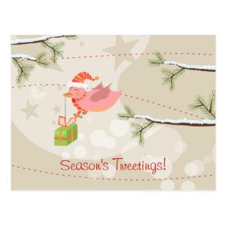Postal linda del navidad del pájaro de la nieve