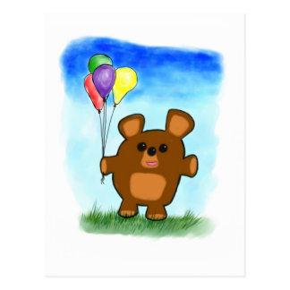 Postal linda del oso del cumpleaños del dibujo ani