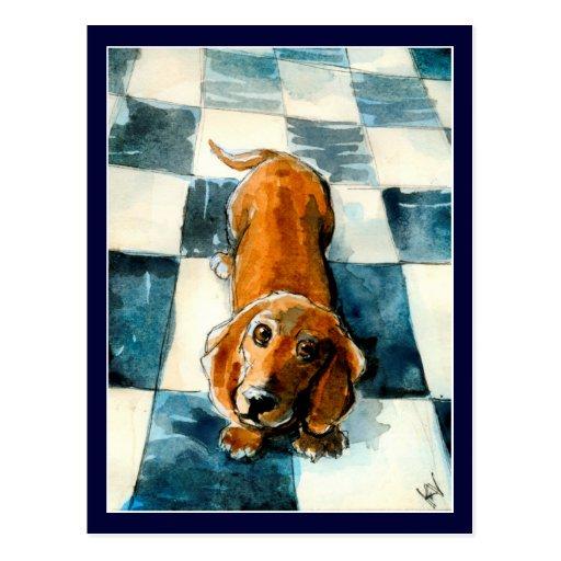 Postal linda del perro del Dachshund
