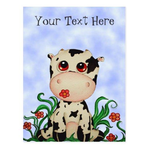 Postal linda del personalizable de la vaca del beb