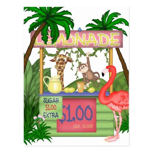 Postal linda del puesto de limonadas de los animal
