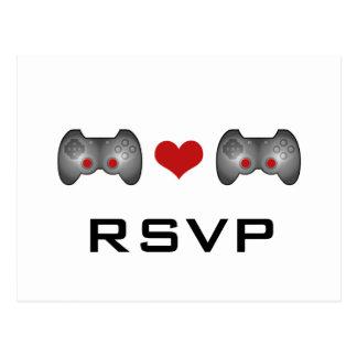 Postal linda roja de RSVP del videojugador