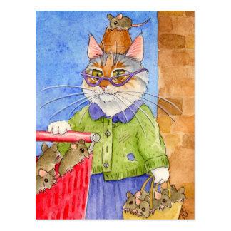 Postal loca de la señora del gato