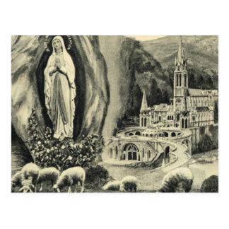 Postal Lourdes, del vintage de la reproducción per