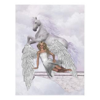 Postal mágica de la belleza del unicornio del ánge