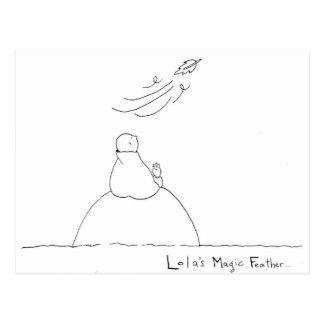 Postal mágica de la pluma de Lola