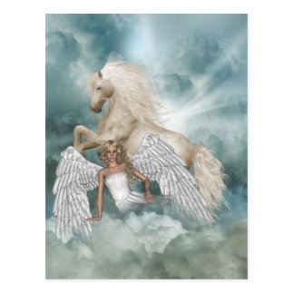 Postal mágica del ángel de la belleza del unicorni