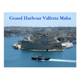 Postal magnífica de La Valeta Malta del puerto