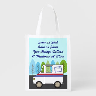 Postal Mail Truck Mail Man Grocery Bag