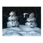 Postal mala del muñeco de nieve