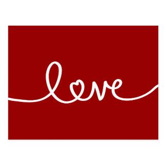 Postal manuscrita roja del el día de San Valentín