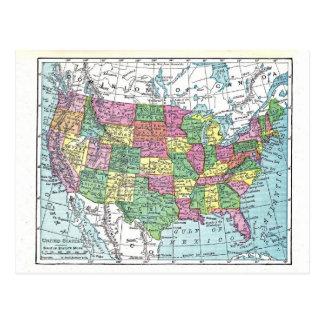 Postal:  Mapa de Estados Unidos, 1921 Tarjetas Postales