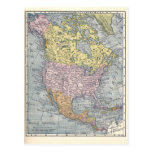 Postal:  Mapa de Norteamérica, 1921
