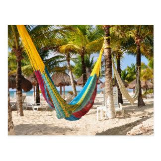 Postal maya colorida de Cozumel México de la hamac