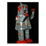 Postal mecánica del juguete del robot gris y rojo
