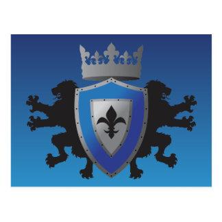 Postal medieval azul de la heráldica del león