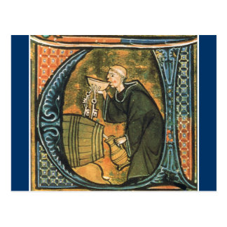 Postal medieval del vino de la prueba del monje