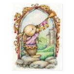 Postal medieval linda del arte del conejo de The