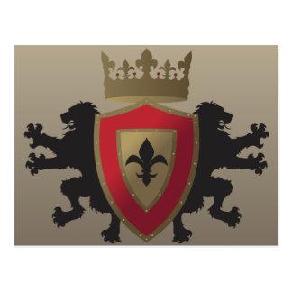 Postal medieval roja de la heráldica del león