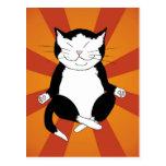 Postal Meditating del gatito del smoking