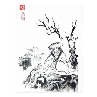 Postal Meditating del samurai