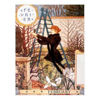 Postal: Mes de febrero - Février Tarjeta Postal