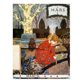 Postal: Mes de marzo - Marte Tarjetas Postales