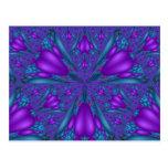 Postal mezclada púrpura de la flor del fractal