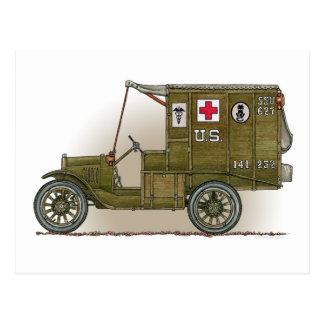 Postal militar de la ambulancia del vintage