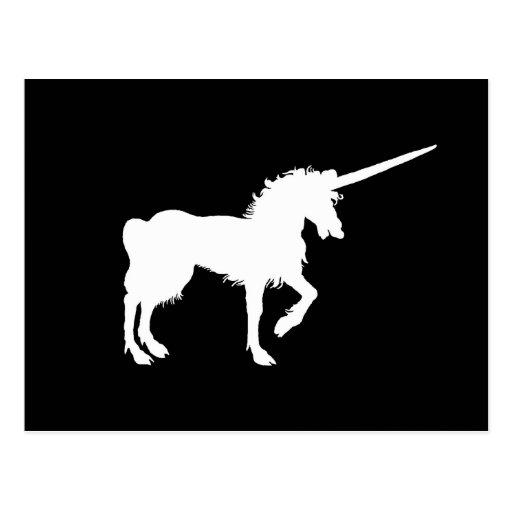 Postal misteriosa del unicornio blanco de la posta