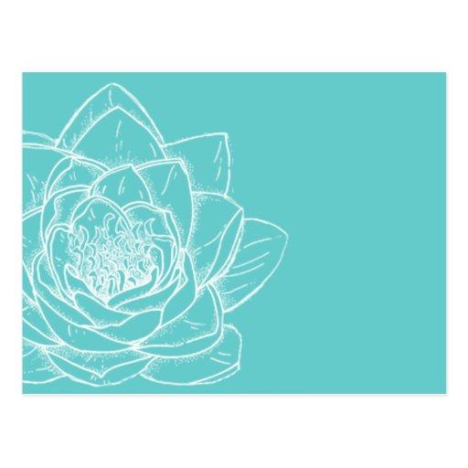 Postal moderna blanca ilustrada de la flor
