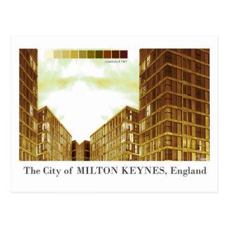 Postal moderna de la sepia de Milton Keynes