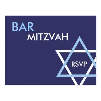 Postal moderna de Mitzvah RSVP de la barra
