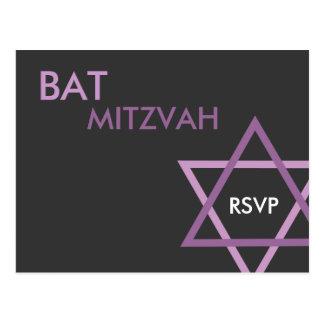 Postal moderna de Mitzvah RSVP del palo
