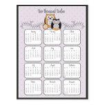 Postal moderna del calendario de los búhos 2012