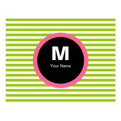 Postal moderna del monograma de la raya - verde/bl