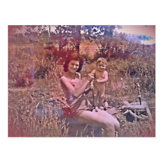 Postal mother and daughter 60 years type old photo postcard