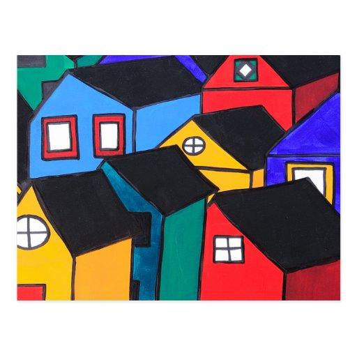 Postal: Muchas casas coloreadas