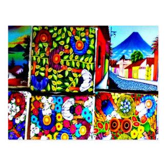 Postal mural folclórica maya de Guatemala