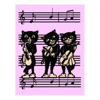 Postal musical de los gatos negros