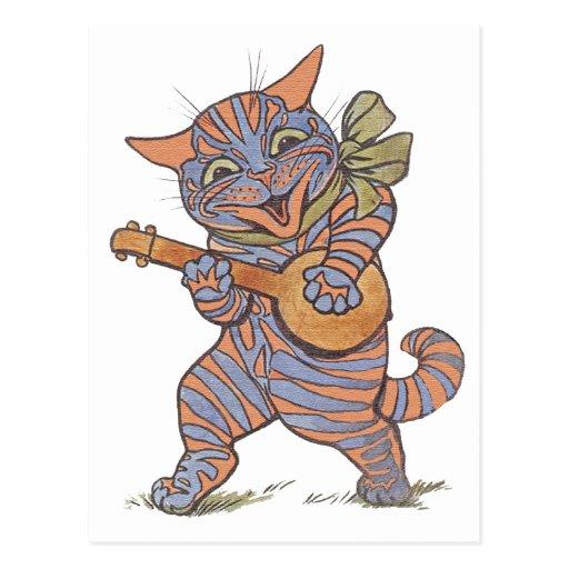 Postal musical del gato del vintage