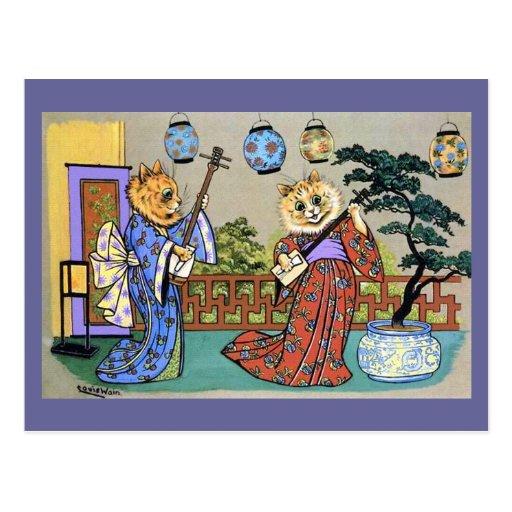 Postal musical japonesa del gato de Wain del vinta