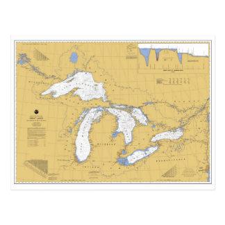 Postal náutica de la carta de Great Lakes